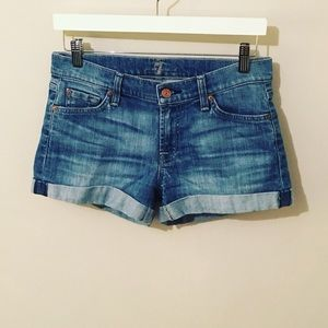 7 for all mankind jean shorts 27 roll up EUC CUTE